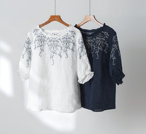 T-shirt Leisurely Embroidery Short Sleeve Top