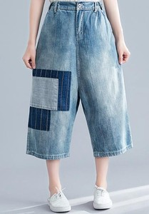Ladies Dark Stripe Applique Denim Pants