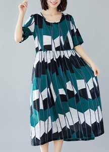 Print Waist Long One-piece Dress