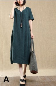Middle Short Sleeve Loose One-piece Dress