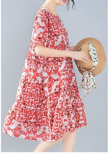 Loose Print Middle One-piece Dress