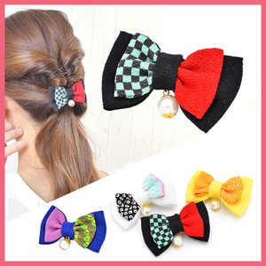 Pearl Attached Japanese Pattern Ribbon Hair Clip