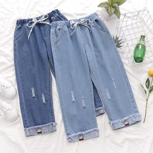 Girl Boy Embroidery Cropped Pants