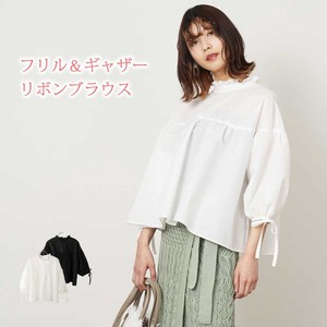 S/S Frill Gather Ribbon Blouse Pullover
