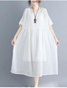 Loose Round Neck Short Sleeve Middle One-piece Dress Band