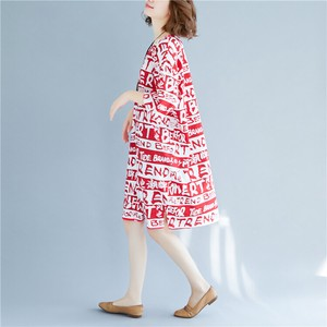 Loose Middle Print One-piece Dress