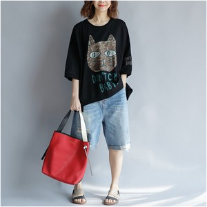 Ladies Loose T-shirt Ladies Wild Round Neck Top