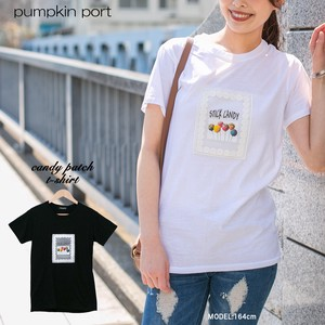 [ 2020NewItem ] Korea Cotton Jersey Stretch Candy Print Applique Attached T-shirt