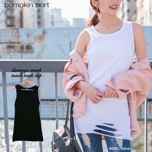 [ 2020NewItem ] Korea Cotton Jersey Stretch Damage Tunic Tank Top