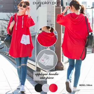 [ 2020NewItem ] Korea Cotton Fleece Applique Attached Hoody One-piece Dress Tunic