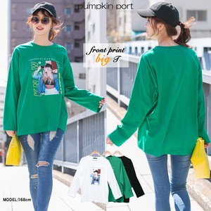 [ 2020NewItem ] Korea Cotton Jersey Stretch Front Photo Print Big Long T-shirt