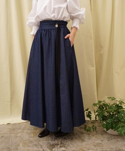 Wrap Denim Flare Skirt