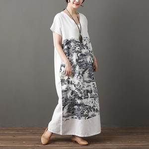 Ethnic Print Loose V-neck Long Skirt One-piece Dress