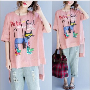 Korea Short Sleeve T-shirt Ladies Front Long Bag Top