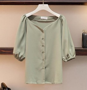 Ladies French Drop Shoulder V-neck Top