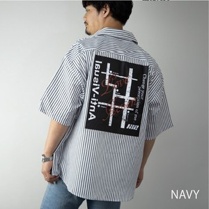 [ 2020NewItem ] Shirt Men's Short Sleeve Bag Print Map Stripe Big Silhouette Top