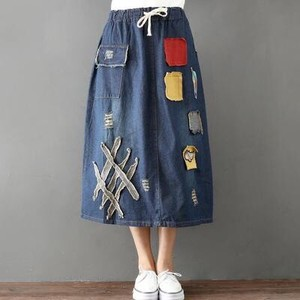 Leisurely Denim Skirt Line Skirt Embroidery