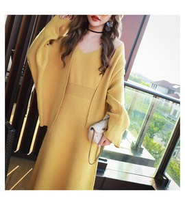 Sweater Ladies Knitted Skirt Korea Leisurely Knitted One-piece Dress 2 Pcs Set