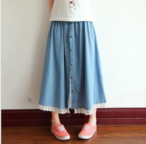 Denim Half Skirt Lace Big Skirt