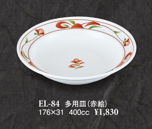 Heavy Use Plate Red Drawing Reinforcement Porcelain
