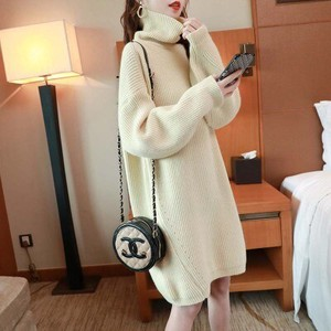 Sweater Ladies Knitted Skirt Korea Leisurely Knitted One-piece Dress