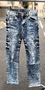 Men's Damage Denim Straight Pants Bleach