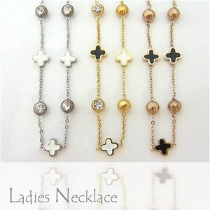 Ladies Stainless Necklace Flower Charm Silver Gold Pink Gold Accessory