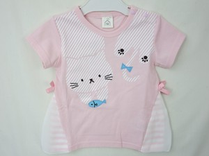 cat Print Applique Attached Switch T-shirt