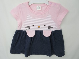 cat Print Applique Attached Denim Jersey Stretch Switch T-shirt