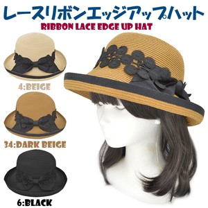 S/S Lace Ribbon Edge Hat Water Absorption Fast-Drying Sweat stopper Adjustment Attached