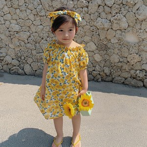 Children's Clothing One-piece Dress Floral Pattern Kids Casual Korea