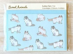 Writing Papers & Envelope Animals Cat Japan Letter