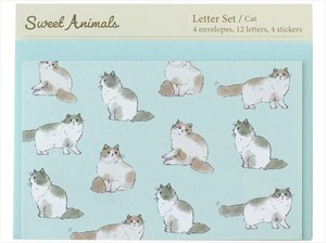 Writing Papers & Envelope Animals Cat made Japan Letter