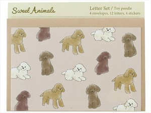 Writing Papers & Envelope Animals Toy Poodle made Japan Letter