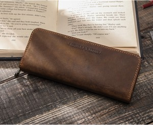 Multiple Functions Pencil Case Leather Zipper Rustic Band Pencil Case Closs Border