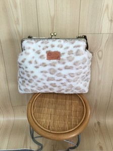 Apricot Room Coin Purse Bag Fake Fur Animal Leopard Large capacity Inside Pocket Attached