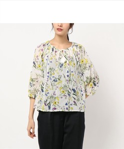 Cotton Toyayanagi Botanical Print Gather Blouse Original Print