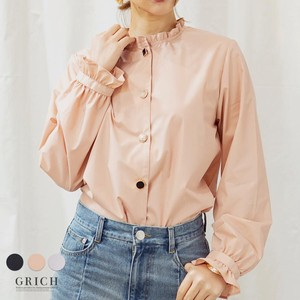 Top rose Button Blouse Ladies Shirt Long Sleeve Frill Neck