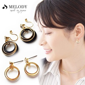 Hall Pierced Earring Double Hoop Open Moon Earring
