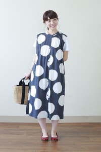 Dobby Checkered Dot One-piece Dress