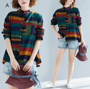 春秋季 新作 縞模様 長袖 ゆったり 大きいサイズ シャツ トップス XBQ397