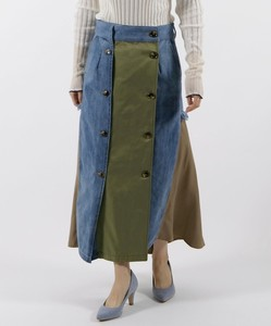 Front Color Scheme Military Denim Skirt