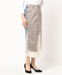 Checkered Denim Attached Skirt
