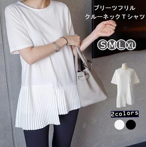 Top Crew Neck Shirt Non-colored Casual Short Sleeve Pleats Frill
