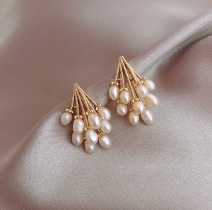 Natural Pearl Pierced Earring Pure Gold Plating