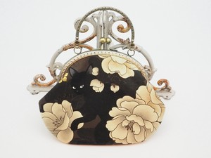 Feeling Coin Purse Bag Base cat Peony Brown