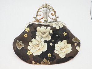 Feeling Coin Purse Bag Base Peony Cat Brown