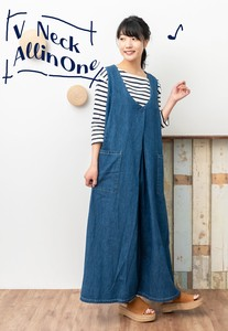 [ 2020NewItem ] V-neck Tuck Denim Overall
