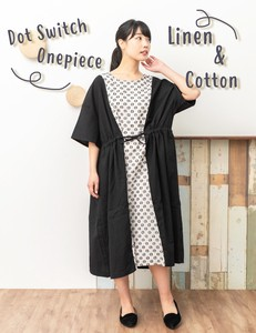 [ 2020NewItem ] Dot Switch Front Ribbon One-piece Dress