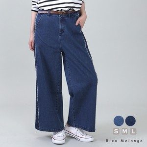 [ 2020NewItem ] Denim wide pants Line Panel Switching